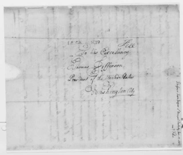 Jean Jacques Dufour to Thomas Jefferson, January 15, 1802, in French