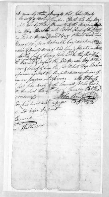 John Brady to Robert Hays, January 4, 1802