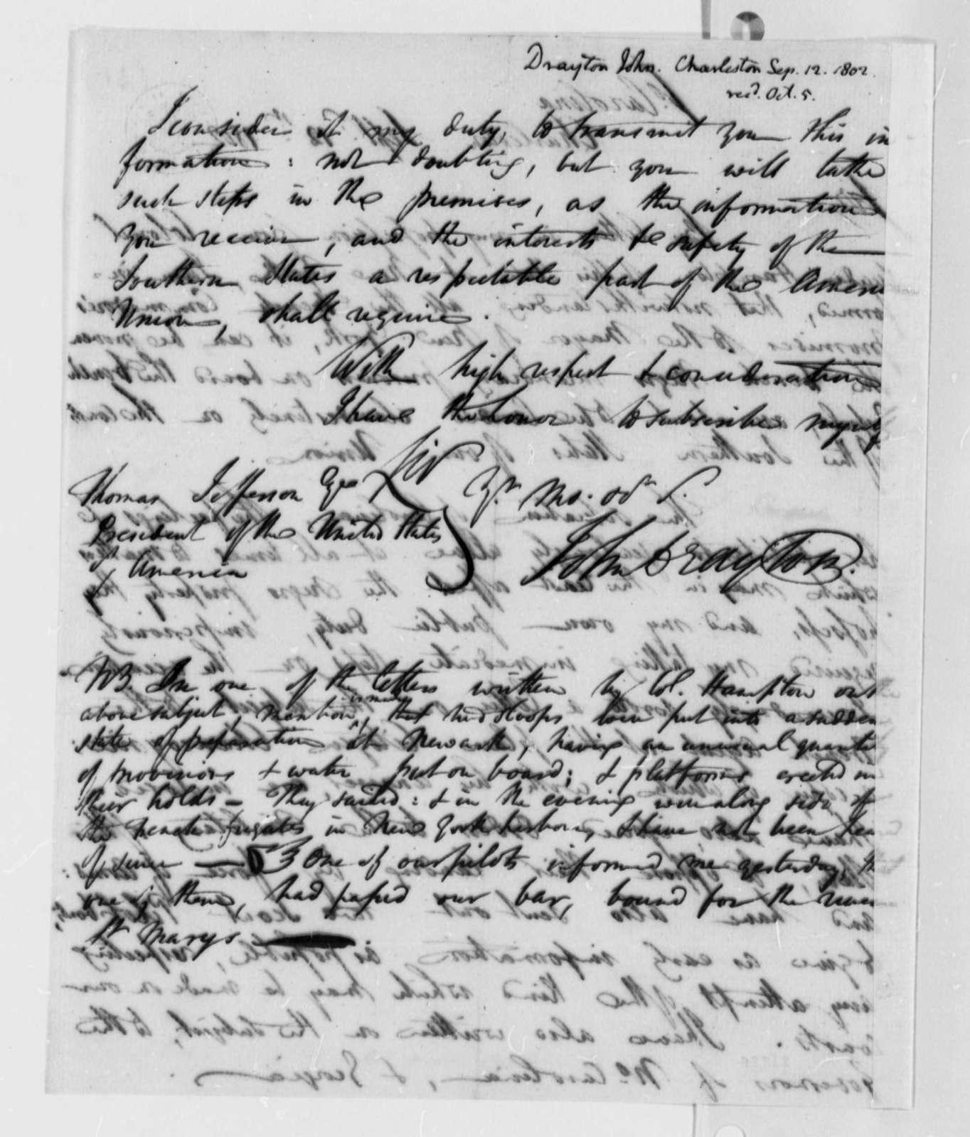 John Crayton to Thomas Jefferson, September 12, 1802