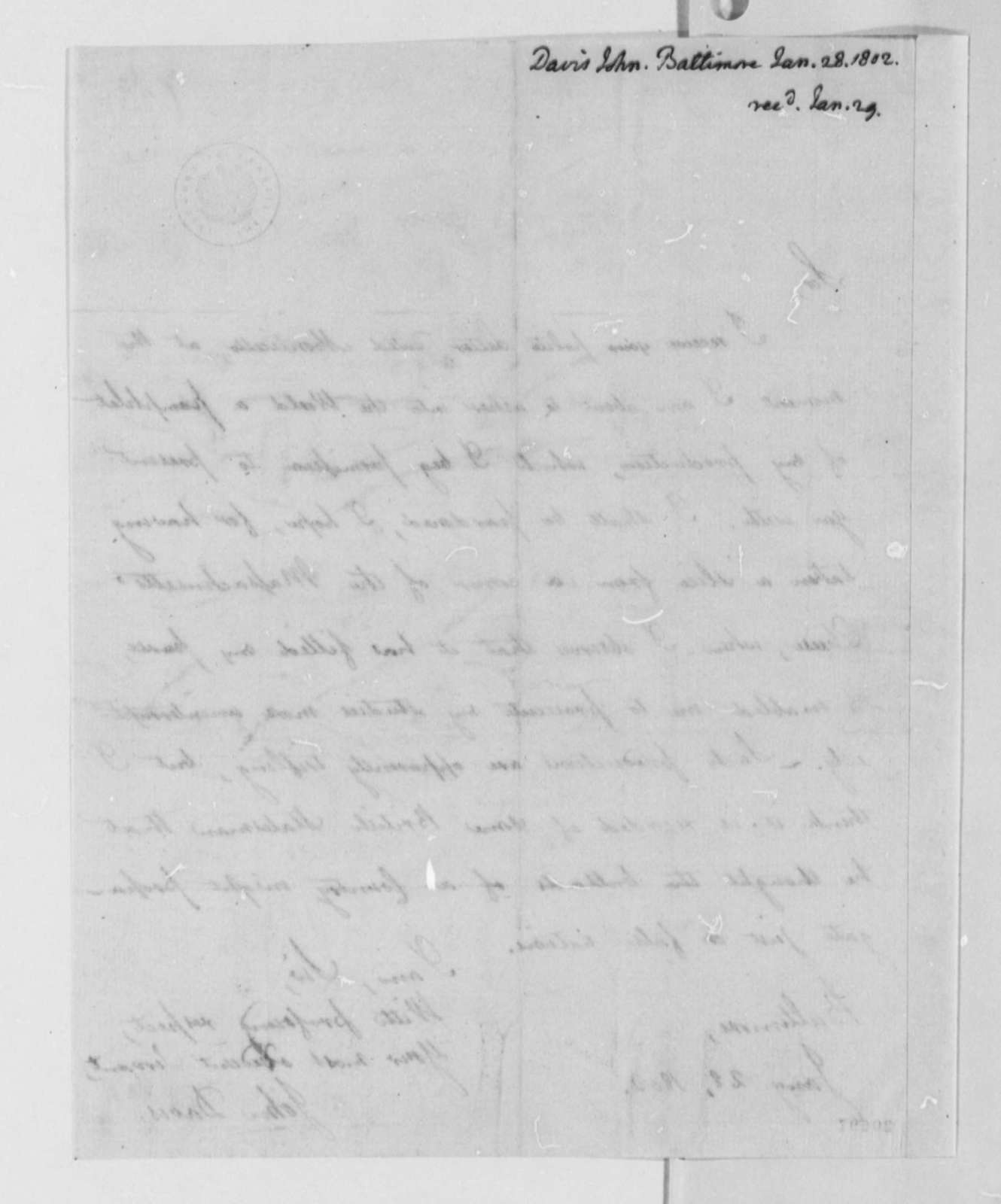 John Davis to Thomas Jefferson, January 28, 1802