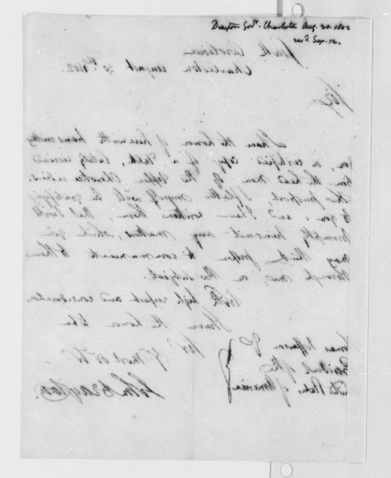 John Drayton to Thomas Jefferson, August 30, 1802
