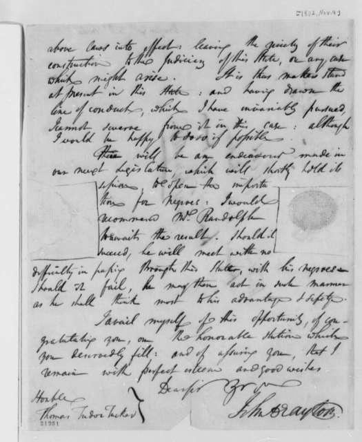 John Drayton to Thomas Tudor Tucker, November 9, 1802