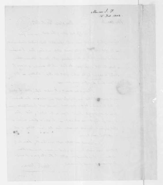John Francis Mercer to James Madison, February 15, 1802.