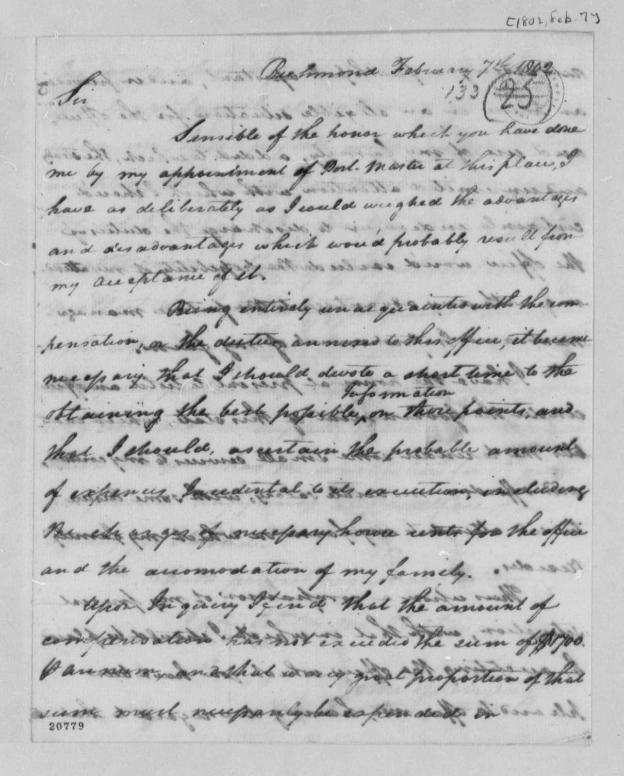 John Guerranty to Thomas Jefferson, February 7, 1802