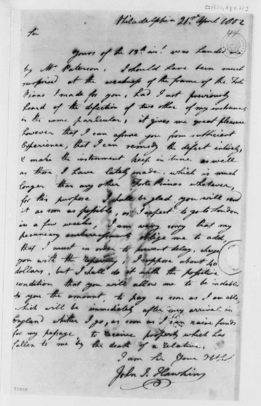 John Isaac Hawkins to Thomas Jefferson, April 21, 1802