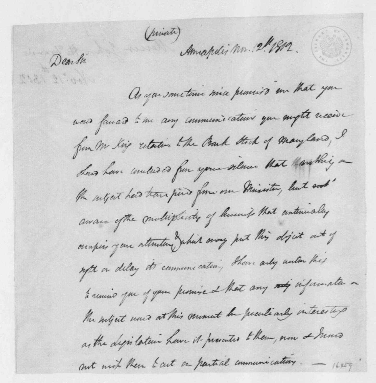 John James Mercer to James Madison, November 12, 1802.