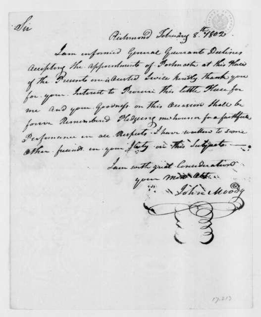 John Moody to James Madison, February 8, 1802.