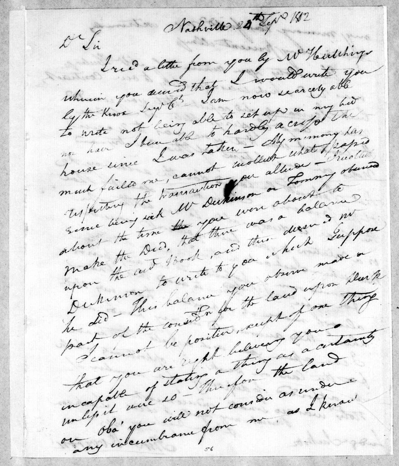 John Overton to Andrew Jackson, September 24, 1802