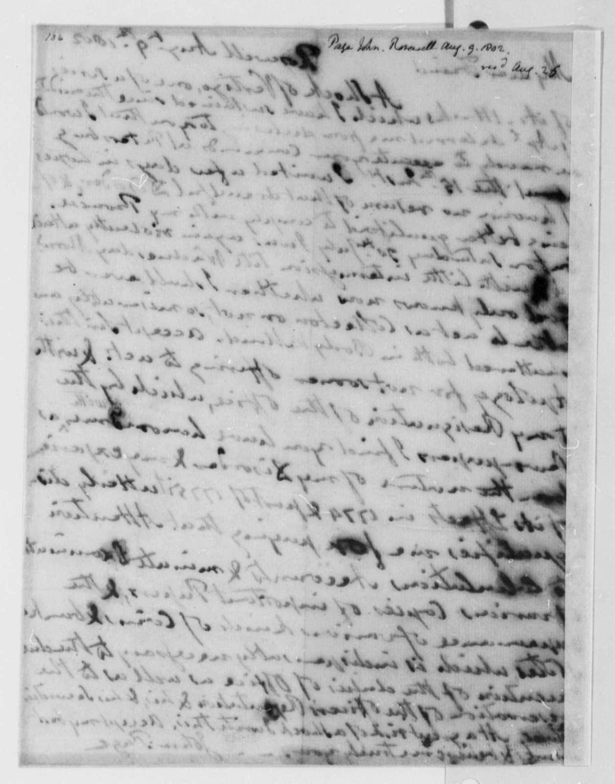 John Page to Thomas Jefferson, August 9, 1802