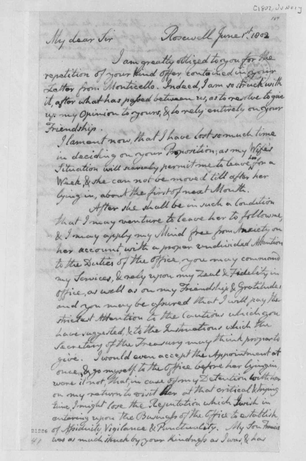 John Page to Thomas Jefferson, June 1, 1802