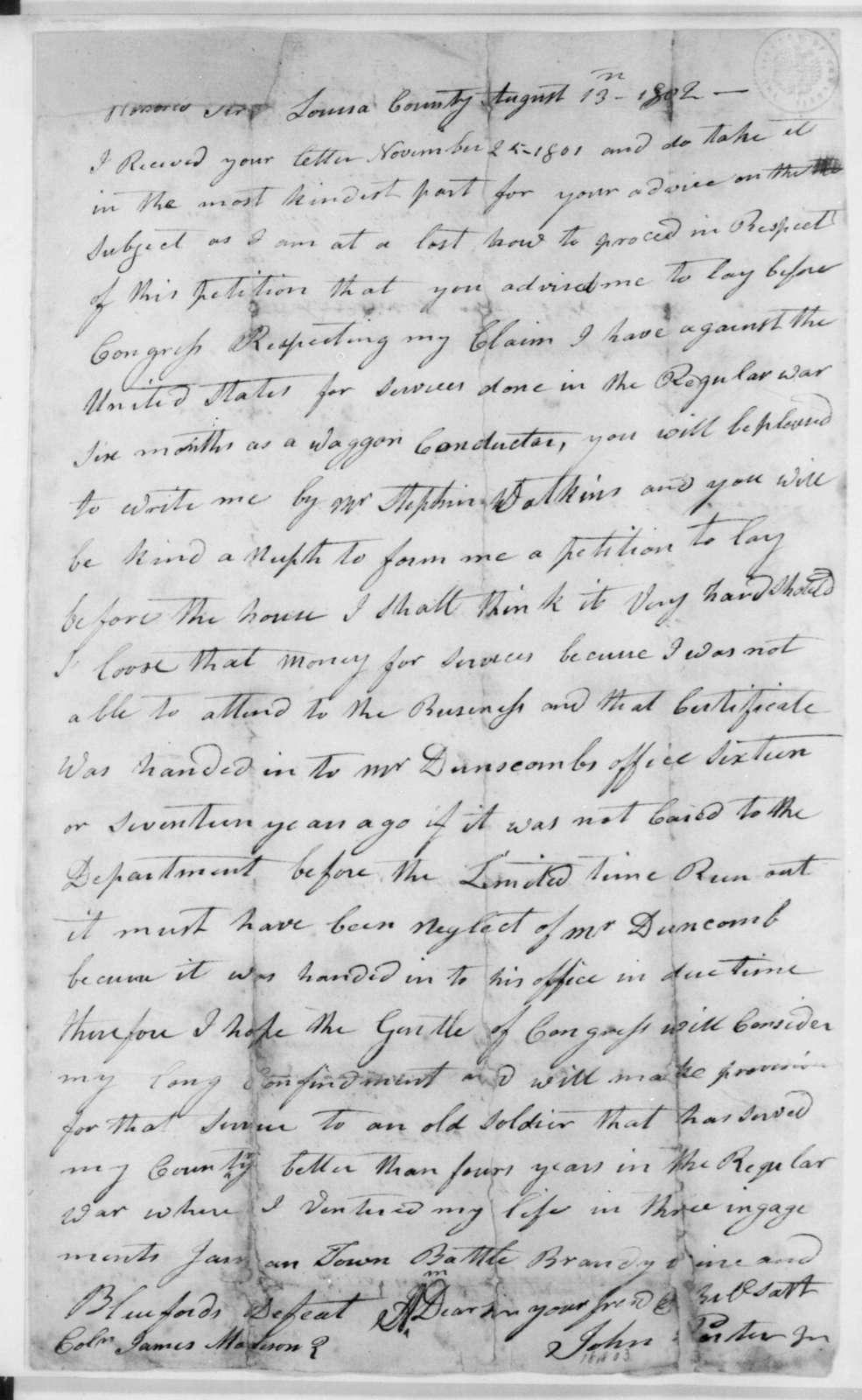 John Porter Jr. to James Madison, August 13, 1802.