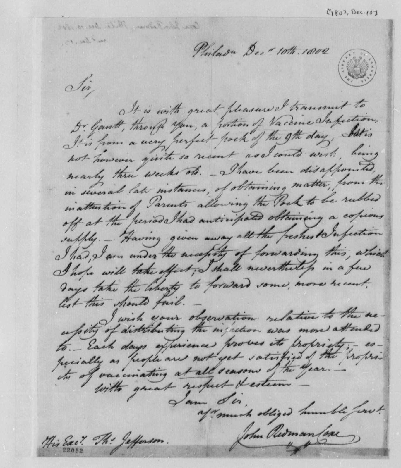 John Redman Coxe to Thomas Jefferson, December 10, 1802