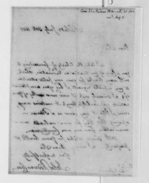 John Redman Coxe to Thomas Jefferson, July 30, 1802