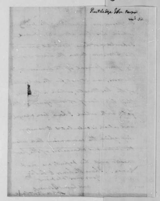 John Rutledge, Jr. to Thomas Jefferson, October 20, 1802