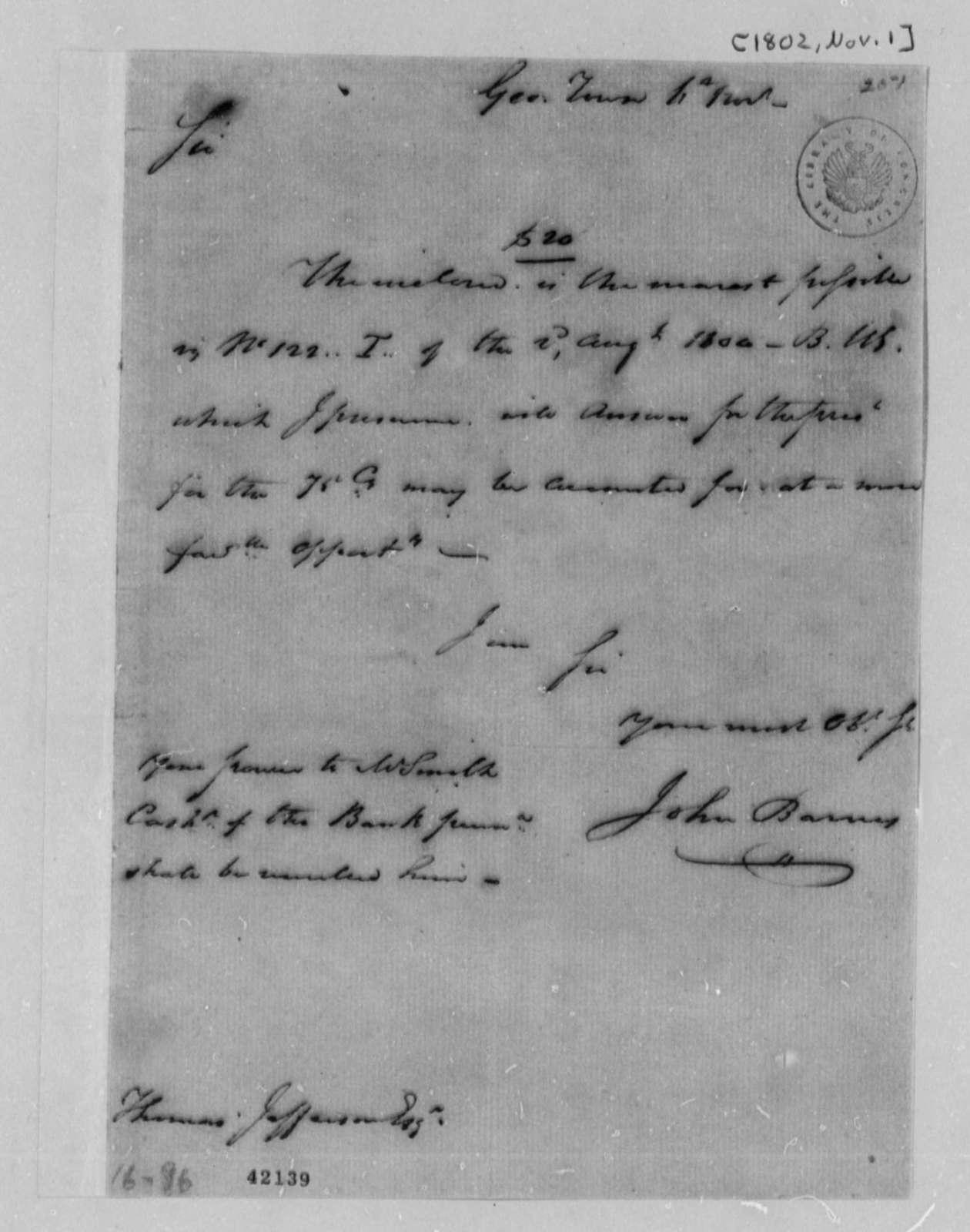 John S. Barnes to Thomas Jefferson, November 1, 1802