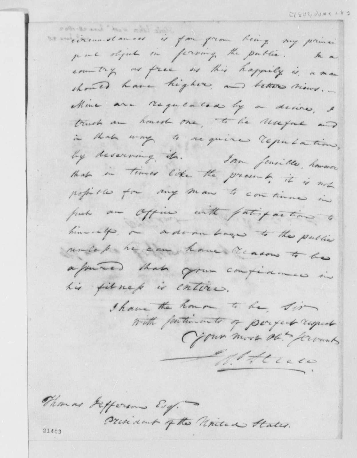 John Steele to Thomas Jefferson, June 28, 1802