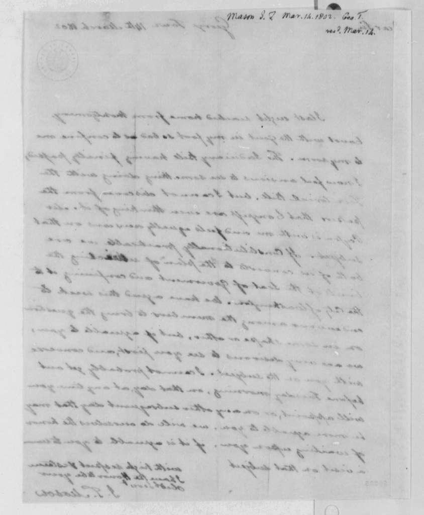 John T. Mason to Thomas Jefferson, March 14, 1802