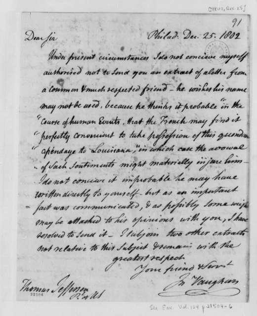 John Vaughan to Thomas Jefferson, December 25, 1802