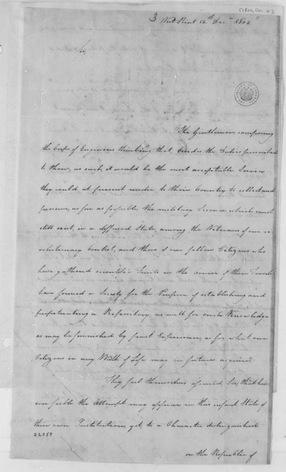 Jonathan Williams to Thomas Jefferson, December 12, 1802