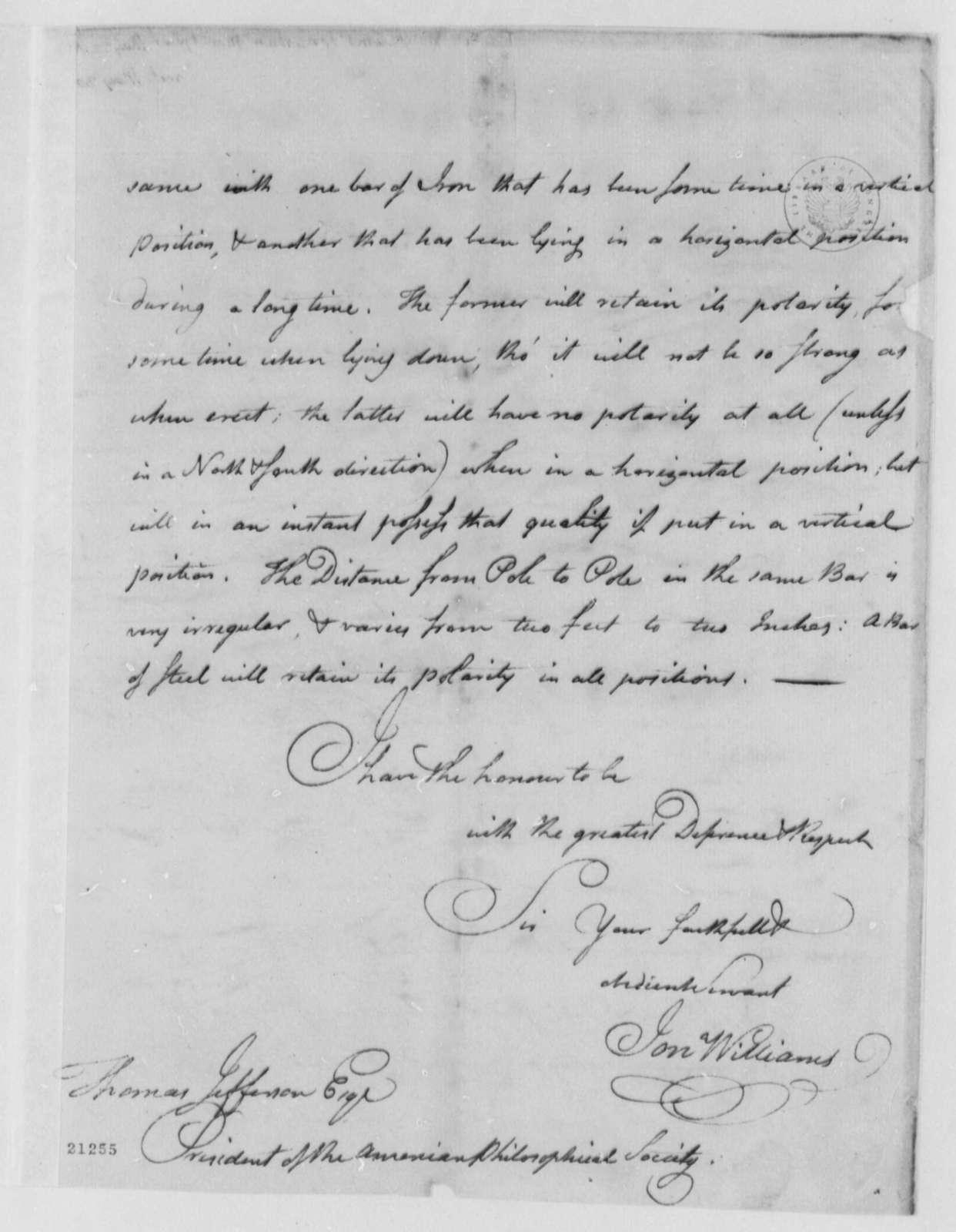 Jonathan Williams to Thomas Jefferson, May 22, 1802