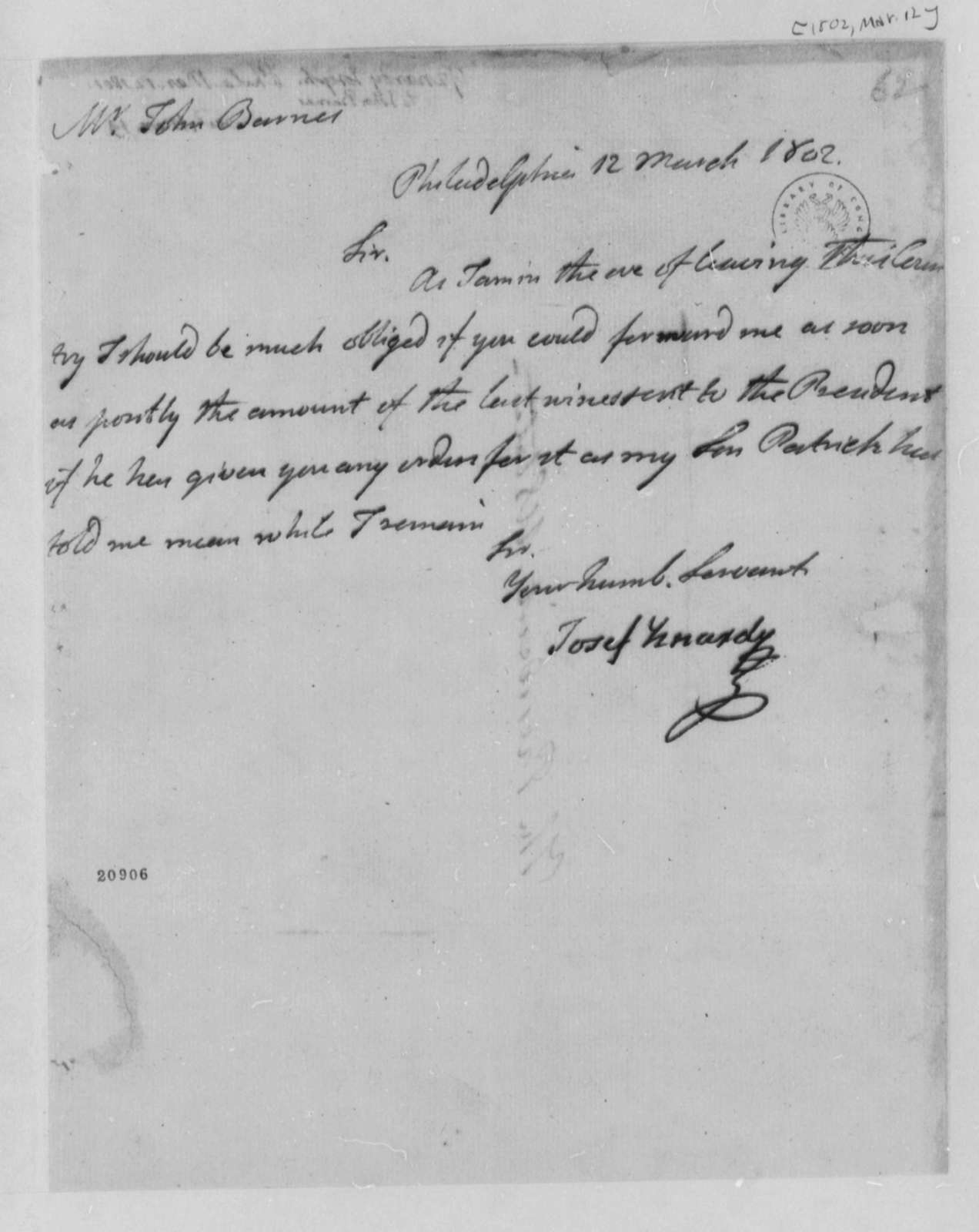 Josef Yznardi to John Barnes, March 12, 1802