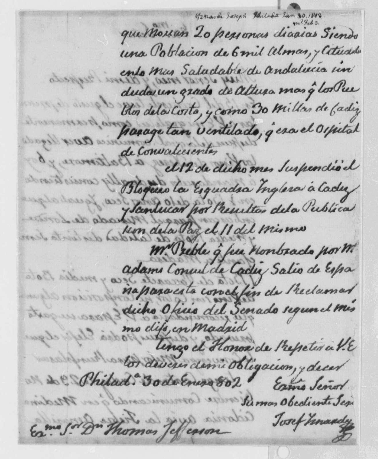 Josef Yznardi to Thomas Jefferson, January 30, 1802, in Spanish