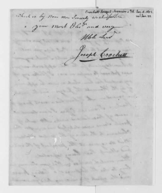 Joseph Crockett to Thomas Jefferson, January 4, 1802