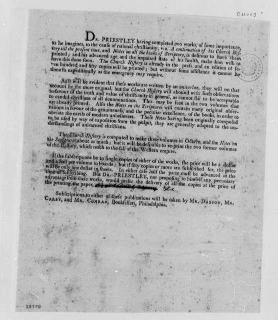 Joseph Priestley, 1802, Church History