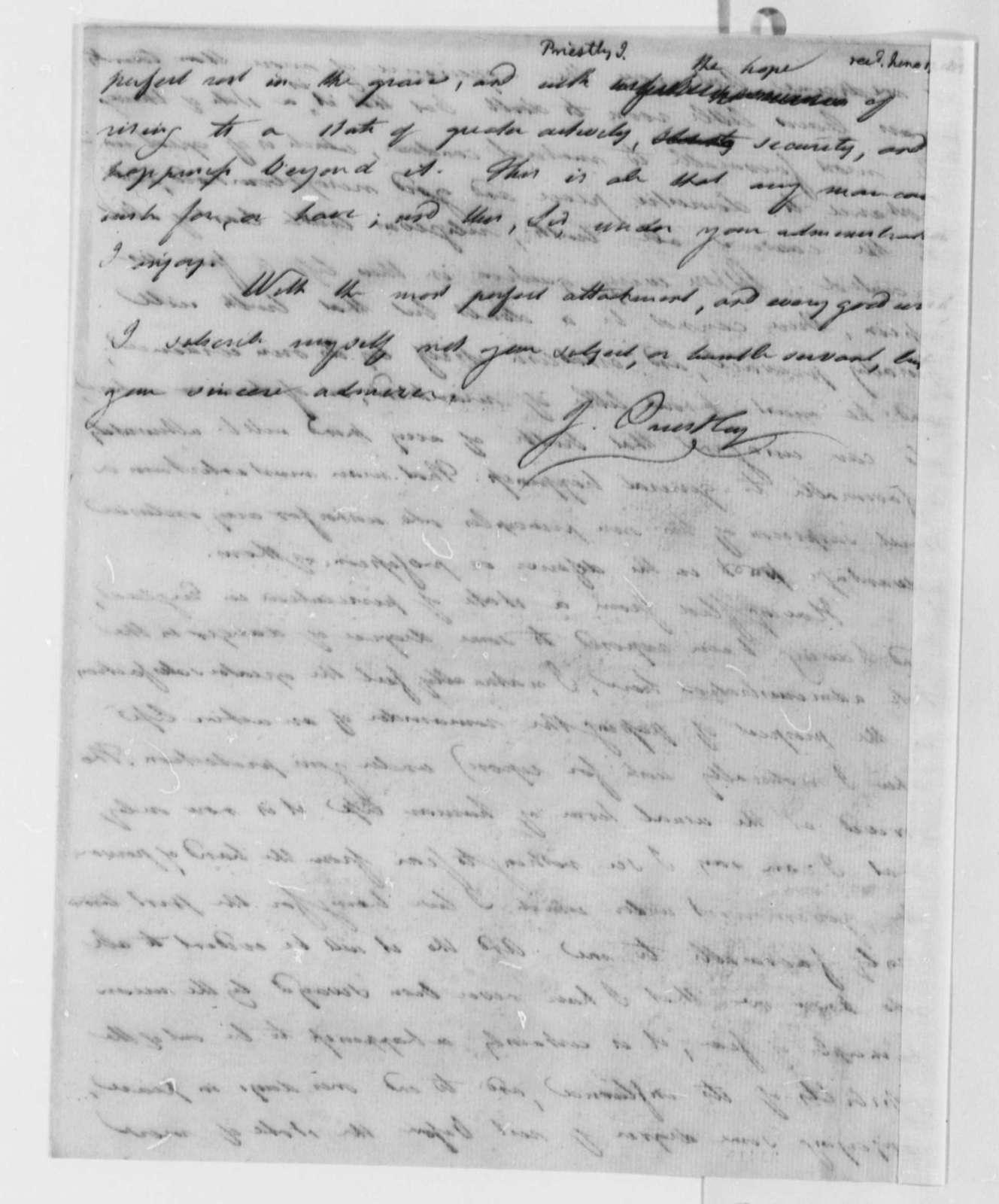 Joseph Priestley to Thomas Jefferson, June 17, 1802