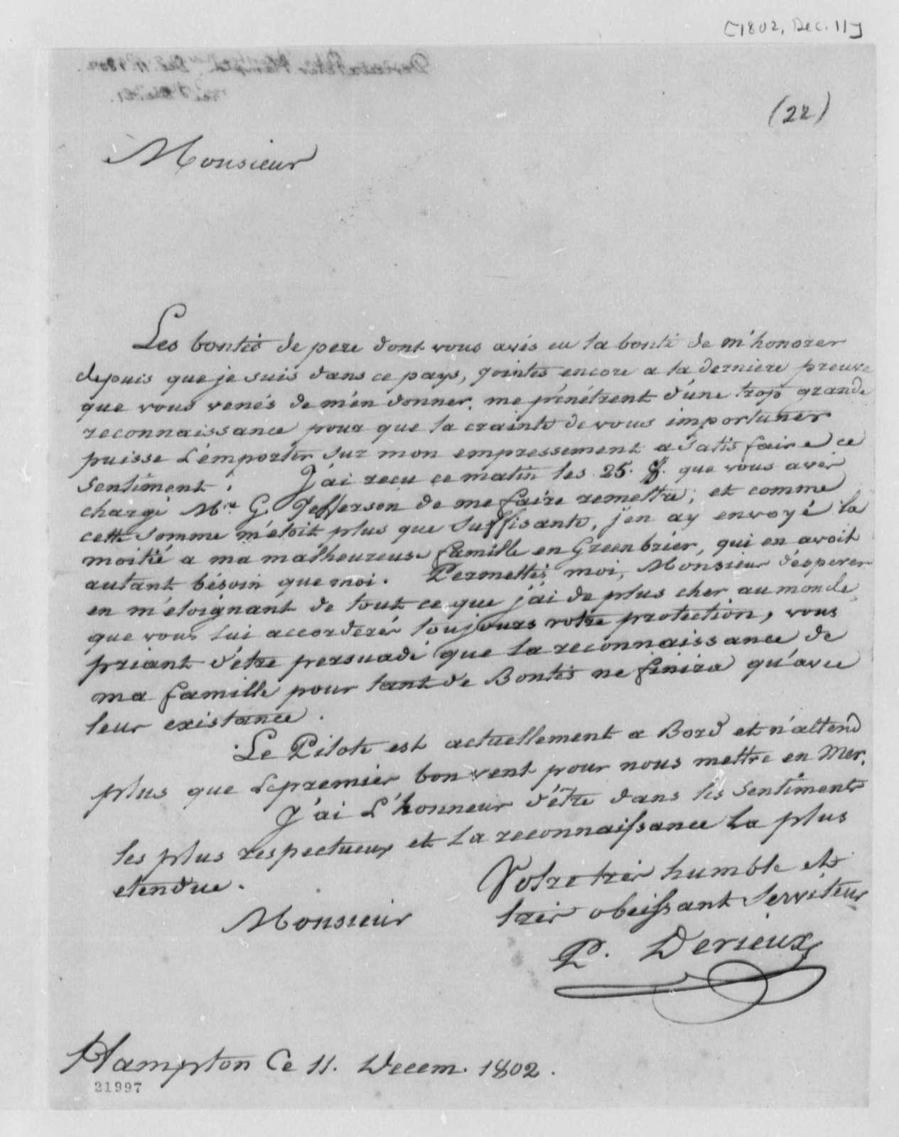 Justin Pierre Plumard Derieux to Thomas Jefferson, December 11, 1802, in French