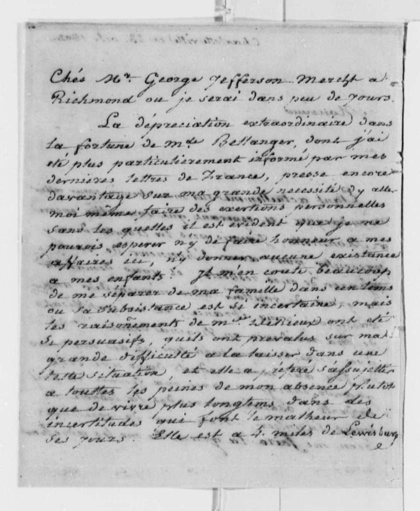 Justin Pierre Plumard Derieux to Thomas Jefferson, October 23, 1802, in French