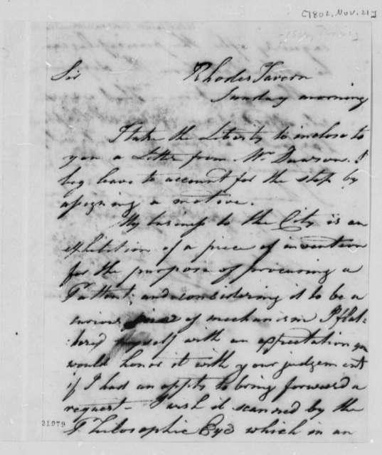 Landon Carter to Thomas Jefferson, November 21, 1802