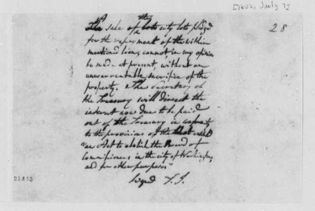 Levi Lincoln, July 7, 1802, Sale of City Lots