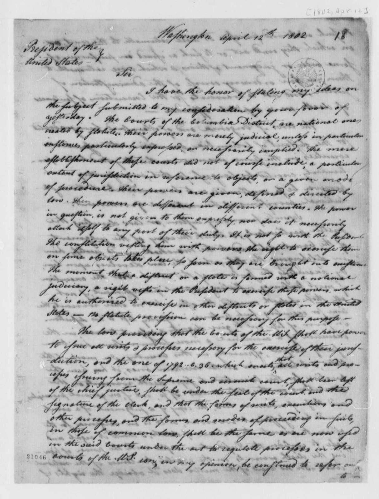 Levi Lincoln to Thomas Jefferson, April 12, 1802