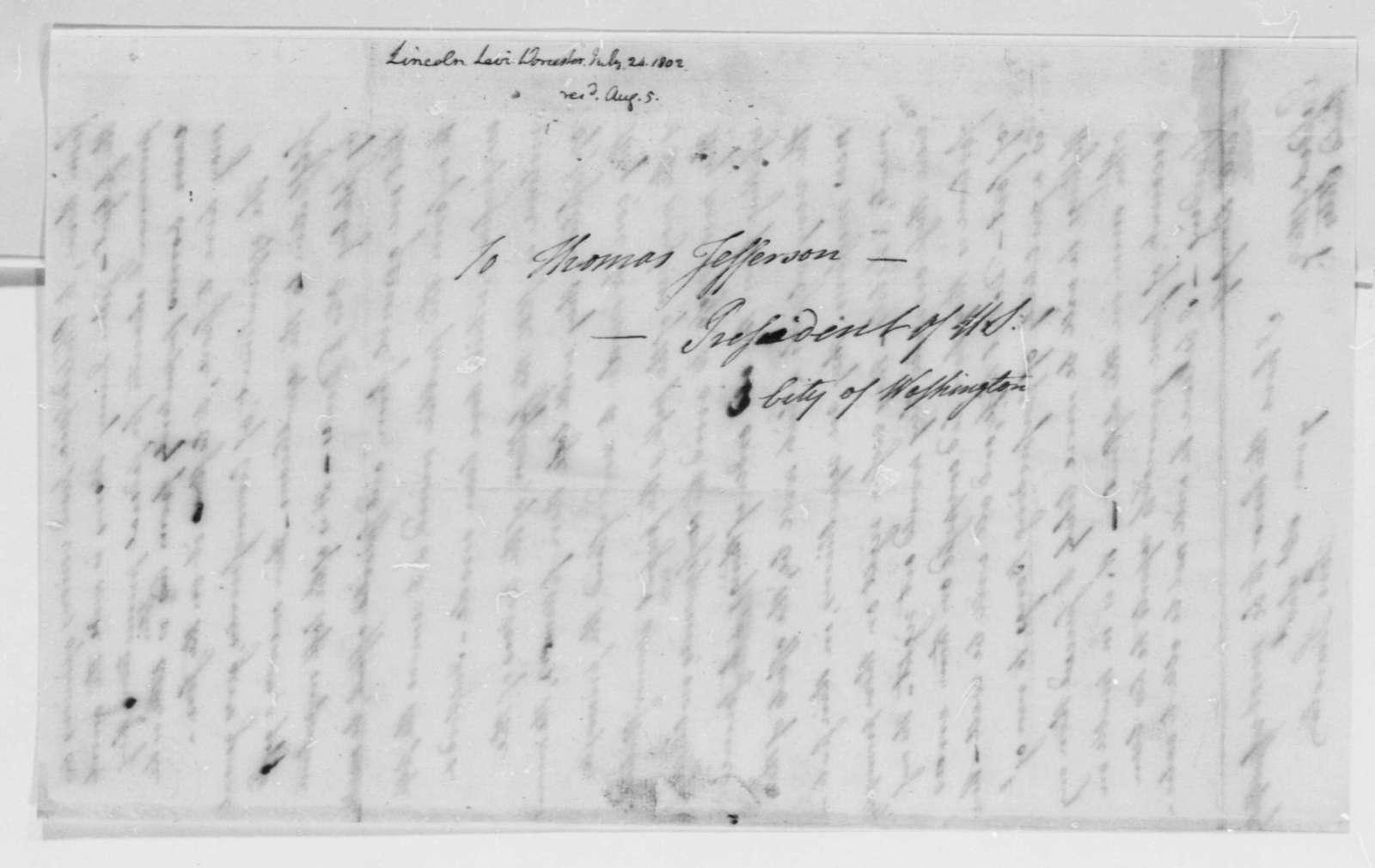 Levi Lincoln to Thomas Jefferson, July 25, 1802