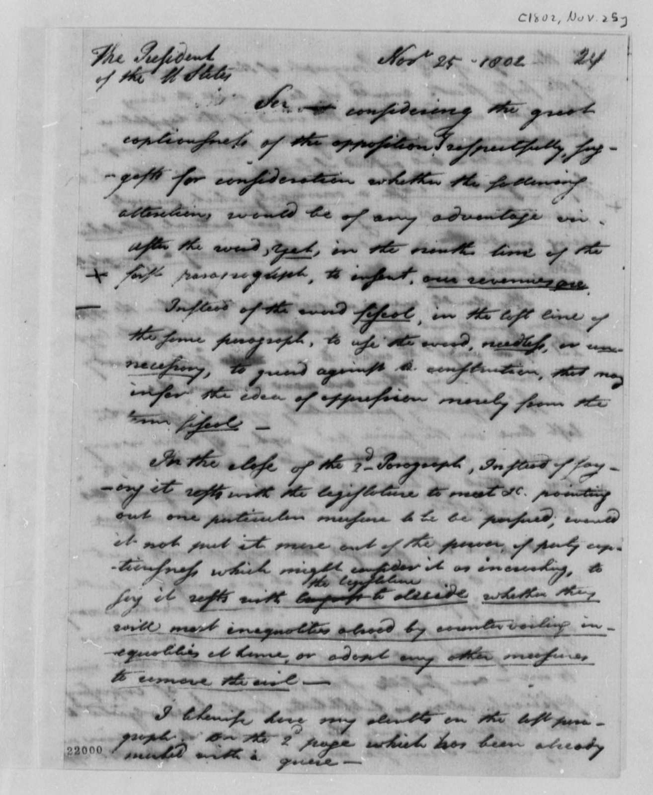 Levi Lincoln to Thomas Jefferson, November 25, 1802