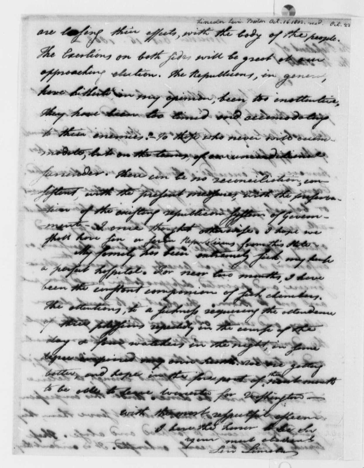 Levi Lincoln to Thomas Jefferson, October 16, 1802
