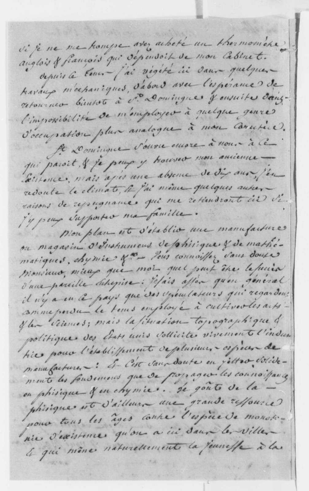 Lewis Geanty to Thomas Jefferson, January 15, 1802, in French