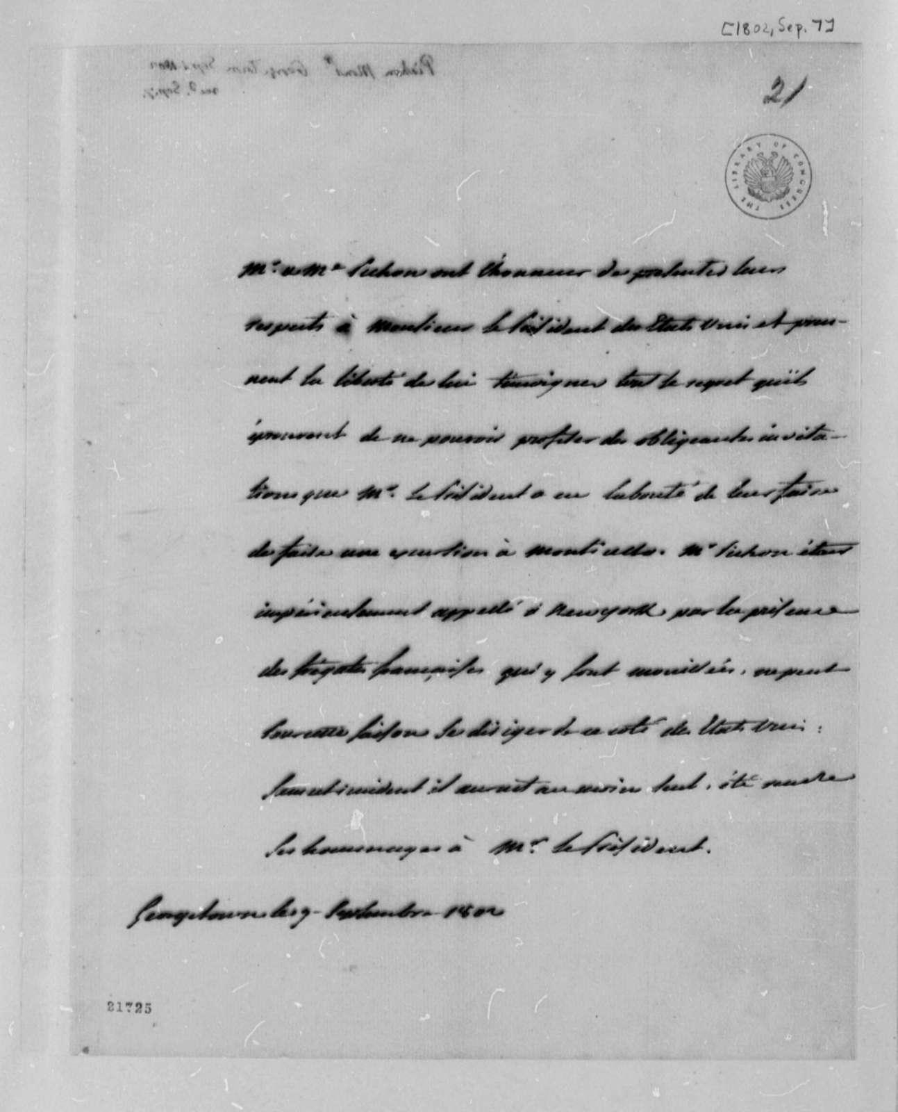 Louis A. Pichon to Thomas Jefferson, September 9, 1802