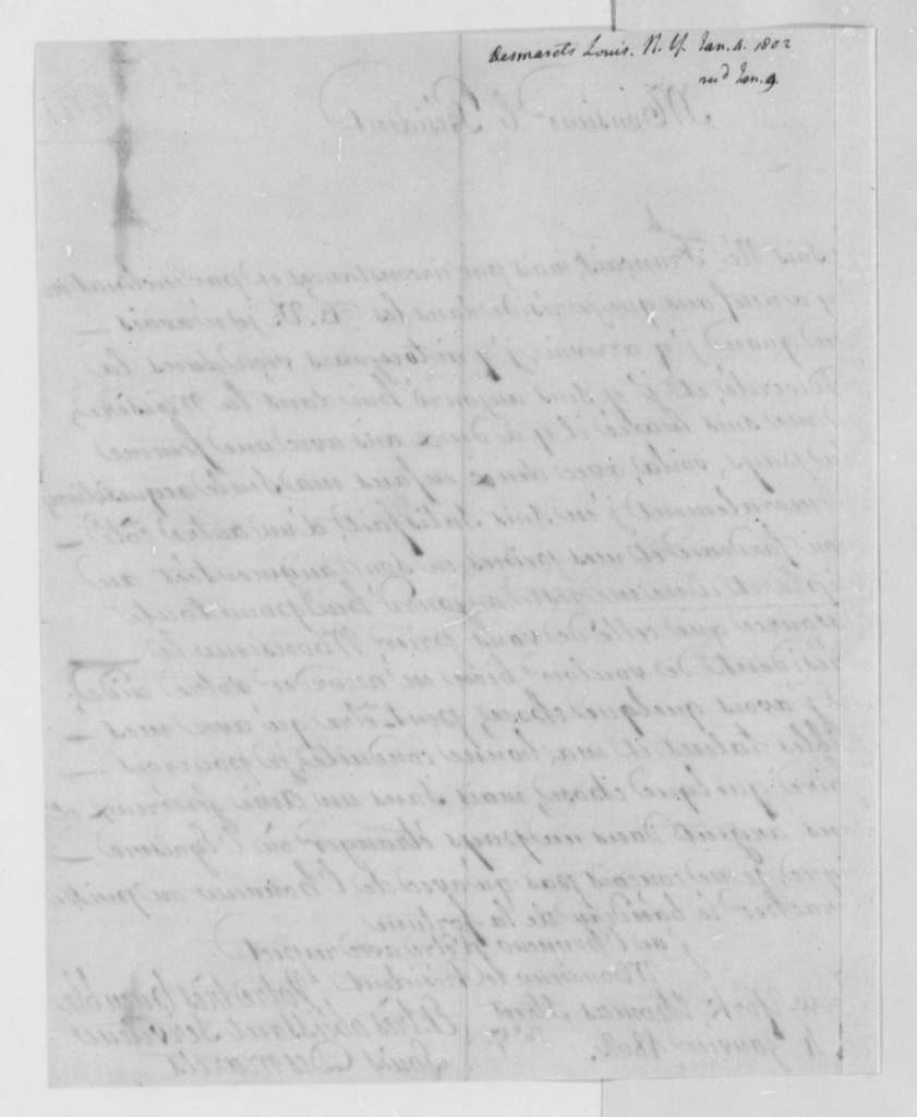 Louis Desmarets to Thomas Jefferson, January 4, 1802, in French