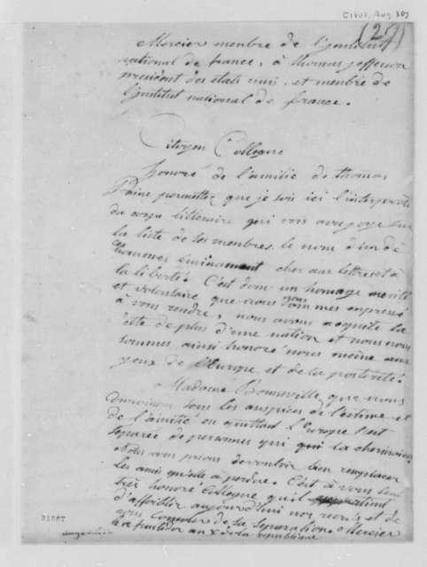Louis Sebastien Mercier to Thomas Jefferson, August 30, 1802, in French
