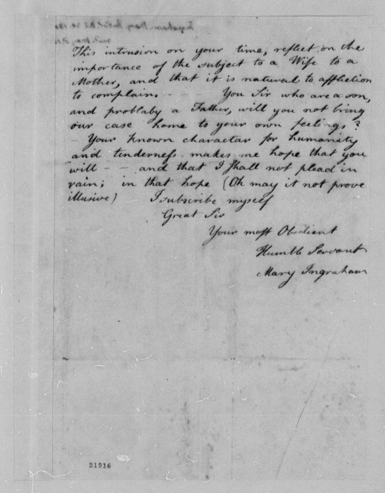 Mary Ingraham to Thomas Jefferson, October 30, 1802