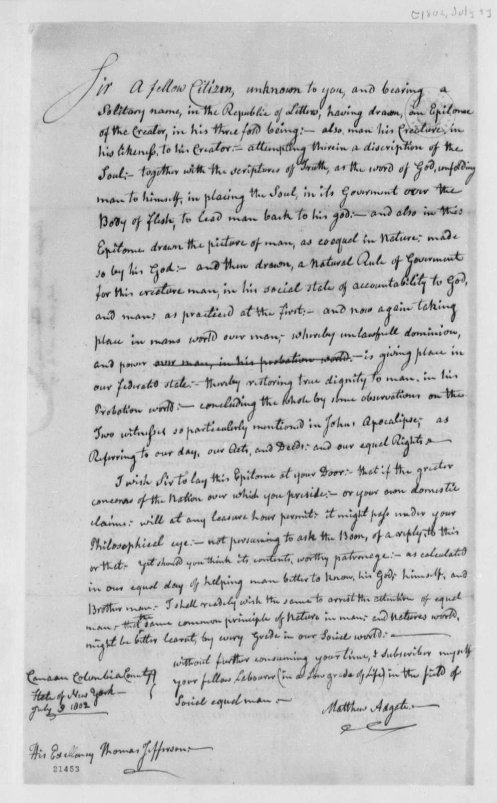 Matthew Adgate to Thomas Jefferson, July 9, 1802