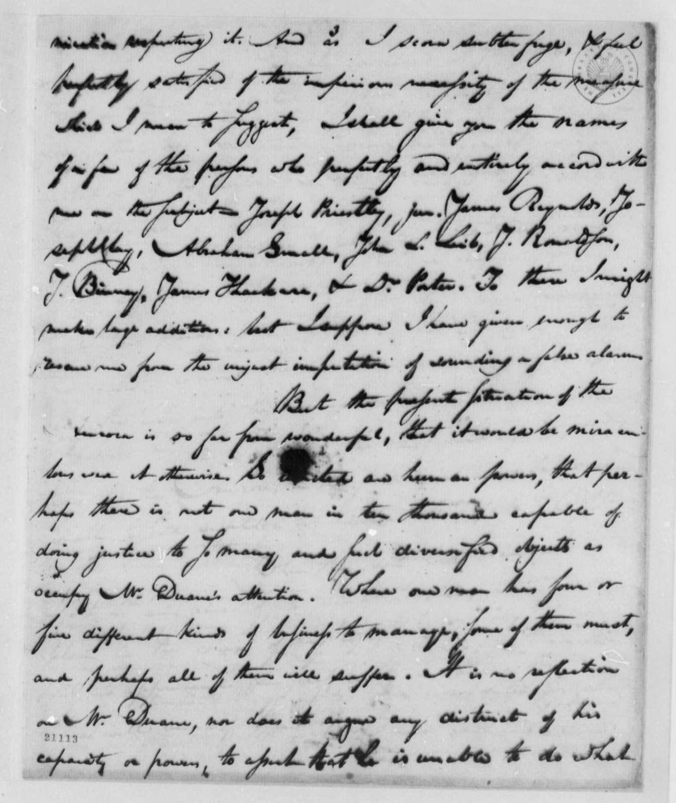 Matthew Carey to Thomas Jefferson, April 24, 1802