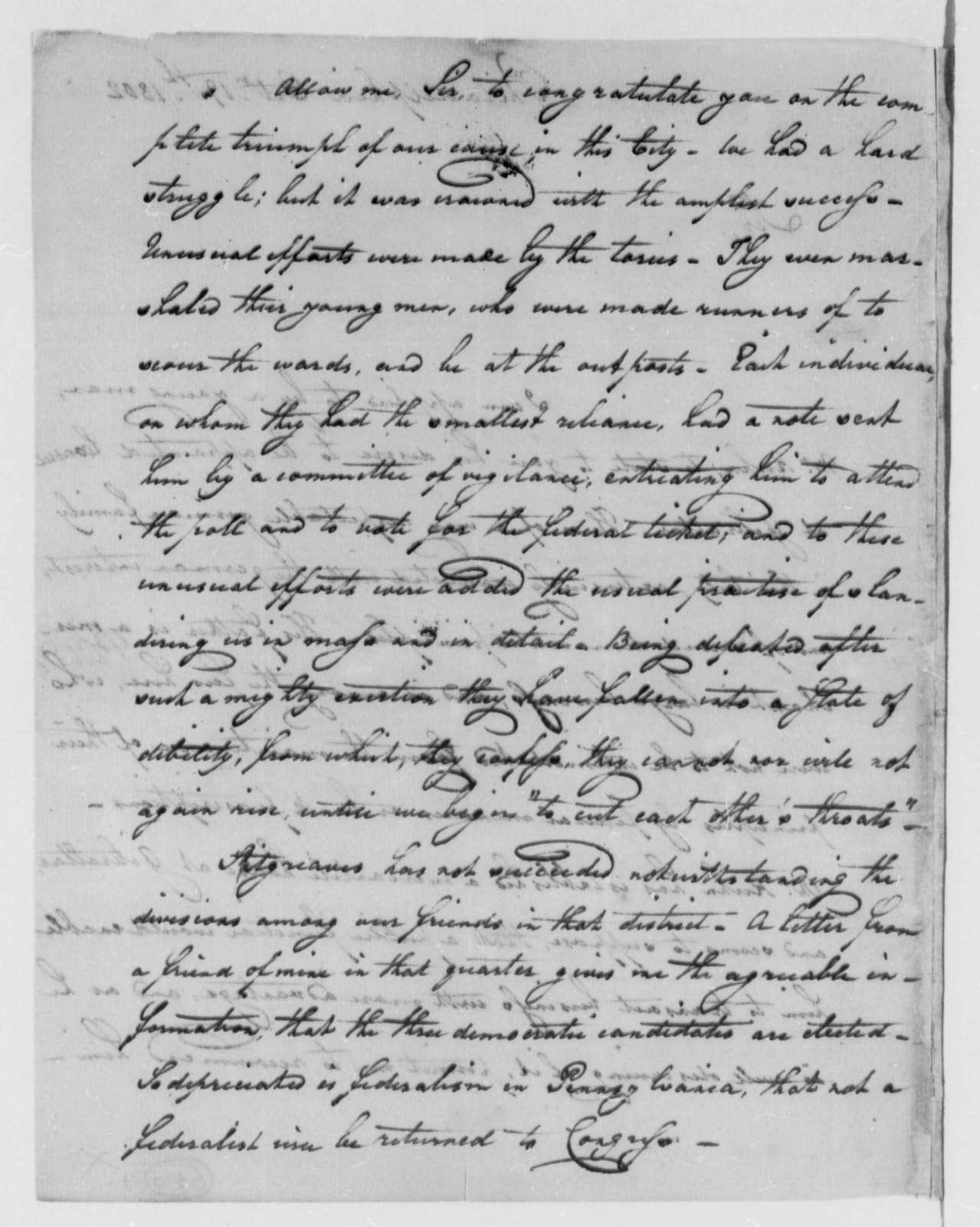 Michael Leib to Thomas Jefferson, October 19, 1802