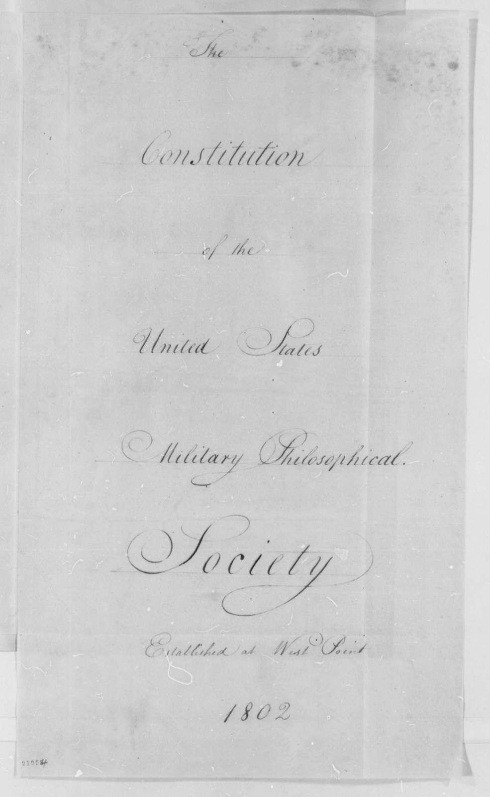Military Philosophical Society, November 12, 1802