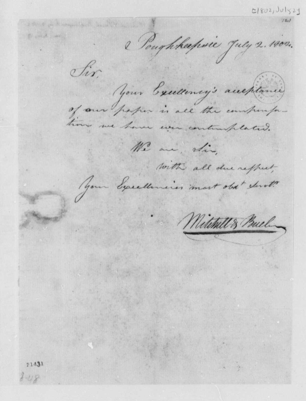 Mitchell & Buell to Thomas Jefferson, July 2, 1802