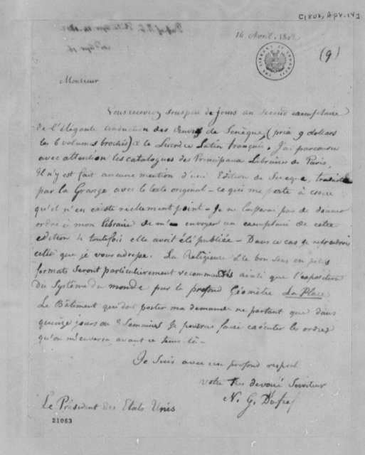 Nicholas Gouin Dufief to Thomas Jefferson, April 14, 1802, in French
