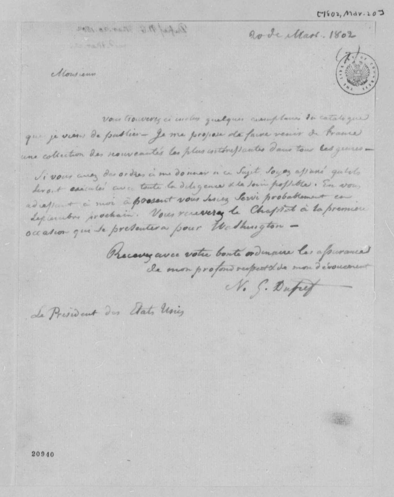 Nicholas Gouin Dufief to Thomas Jefferson, March 20, 1802, in French