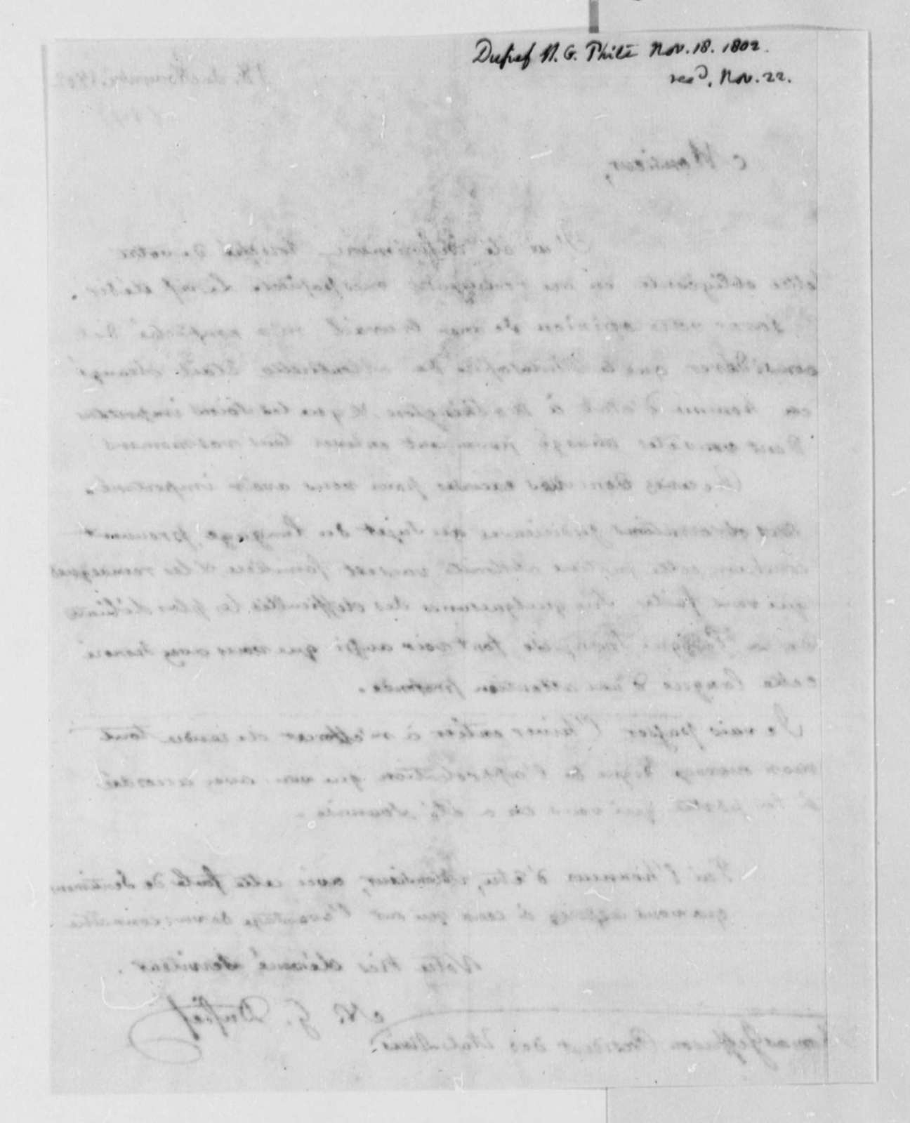 Nicholas Gouin Dufief to Thomas Jefferson, November 18, 1802, in French